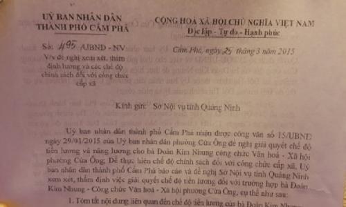 """UBND TP Cẩm Phả đề xuất giải quyết vụ """"Công chức 5 năm không lương"""""""